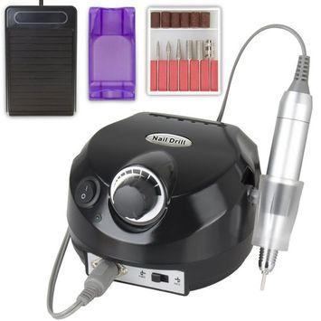 CoastaCloud Black Nail Drill 110V Professional Manicure Pedicure File Machine Salon 30,000RPM Kits with Pedal Electric Acrylic Polish Nail Art Drill