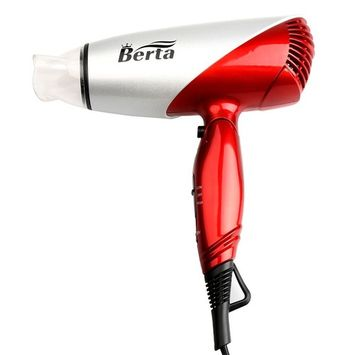 BERTA 1875 Watts Folding Handle Hair Dryer Tourmaline Ceramic Negative Ionic Blow Dryer US Plug