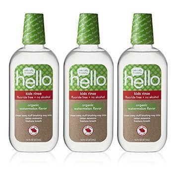 Hello Oral Care Kids Fluoride Free Organic Rinse, Watermelon, 3 Count [Watermelon]
