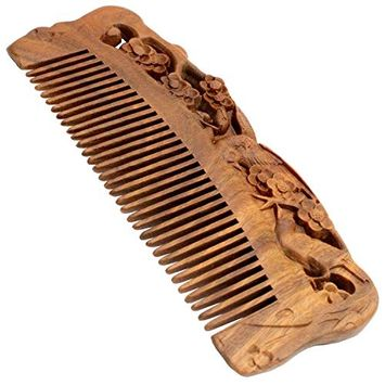 YOY Handmade Carved Natural Sandalwood Hair Comb - Anti-static No Snag Brush for Men's Mustache Beard Care Anti Dandruff Women Girls Head Hair Accessory