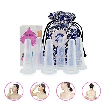SPEQUIX 6 Pieces Silicone Therapy Massage Cupping Cups for Face&Neck Anti-Aging Skin Boots Collagen Reduce Fine Lines