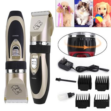P2 Electric Pet Dogs Hair Fur Clipper Ultra-Low Mute Trimmer Animals Shaver Haircut Machine Tool Black