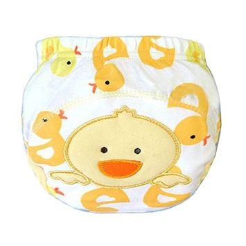 Baby Toddler Training Panties Cute Reuseble Cotton Cartoon Potty Nappy (80 (S), Duck)