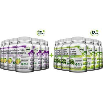 Greenatr Green Coffee Bean + Garcinia Cambogia - Antioxidant & Weight Loss Pack - 12 Months Supply
