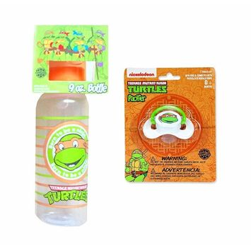 Nickelodeon Ninja Turtles 9 oz Baby Bottle & Pacifier Set - TMNT Gift - Michelangelo/Orange