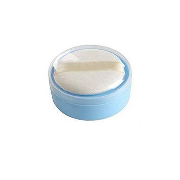 1 Pcs Blue Plastic Baby Care Baby Puff Box Holder Container Talcum Powder Case Portable Empty Makeup Comestic Case with Fluff Puff