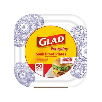 Glad Square Disposable Paper Plates for All Occasions | Soak Proof, Cut Proof, Microwaveable Heavy Duty Disposable Plates | 8.5