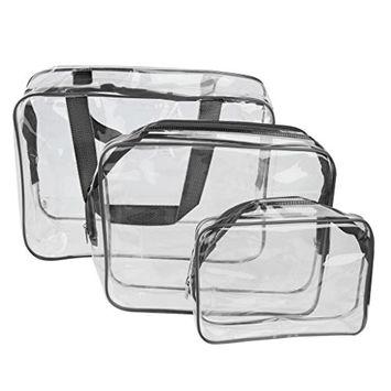 MagiDeal 3-in-1 PVC Transparent Cosmetic Tote Bag Toiletry Organizer Handbags - Black