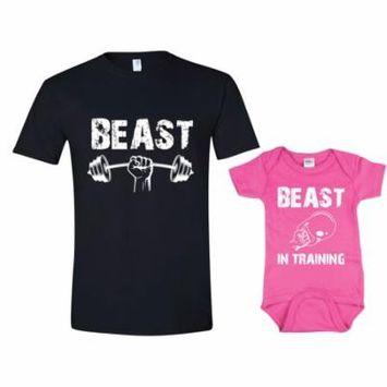 Texas Tees Brand: Funny Workout TShirt Set Beast in Training Beast TShirt, Mens XL & Pink 6-12mo