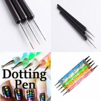 350buy 5 X 2 Way Marbleizing Dotting Pen Set+Professional Nail Art Brushes- Sable Nail Art Brush Pen, Detailer, Liner **Set of 3
