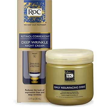 RoC Retinol Correxion Deep Wrinkle Anti-Aging With Mineral Extracts 1 oz & RoC Daily Resurfacing Disks, Skin-Conditioning Cleanser