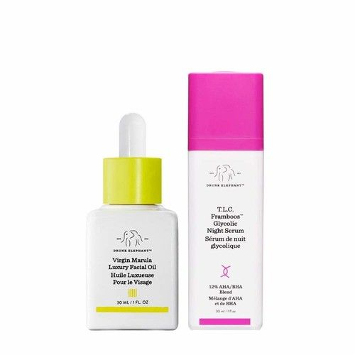 Drunk Elephant NightBright Duo - Nighttime Skincare Routine with T.L.C. Framboos Glycolic Night Serum and Virgin Marula Luxury Facial Oil