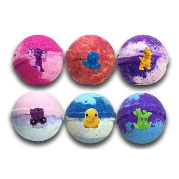 Kids Bath Bombs Gift Set W/ Surprise Toys, 6-5oz XL Bath Fizzies , Kid Safe , Gender Neutral , organic, bath bombs for kids , Made In USA