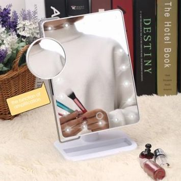 20 LED White Makeup Mirror with light and Magnifier for Tabletop Led Makeup Mirror for Girls Beauty