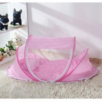 Foldable Baby Infant Sleeping Mosquito Net Pop Up Bubble Cot Bassinet Pink