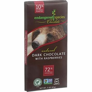 Endangered Species Natural Chocolate Bars - Dark Chocolate - 72 Percent Cocoa - Raspberries - 3 oz Bars - Case of 12