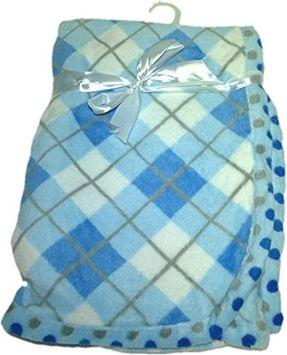 Luxclub Inc LuxClub Premium Super Plush 30 x 40 Baby Blanket with Colorful Print-Plaid Blue