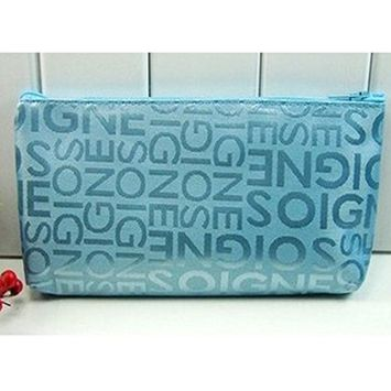 Make Up Bag Small Cosmetic Pouch, Print Zipper Travel Make Up Bag Wash Bag Toiletry Cosmetics Wallet Pencil Pen Holder Organiser Pouch Case (Blue)