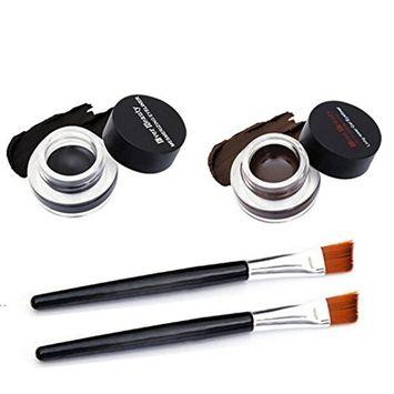 Voberry 2Pcs Waterproof Eye Liner Gel Eyeliner with Free Makeup Brush Brown Black [A]