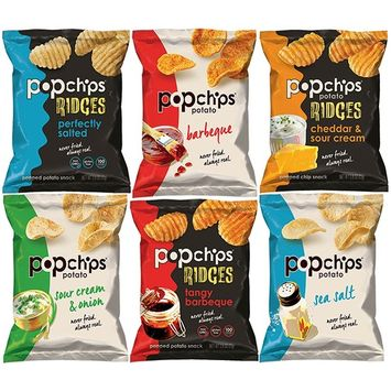 Popchips Potato Chips and Ridges, Mixed Variety Sampler, Different Flavors, 0.8 Ounce Bags