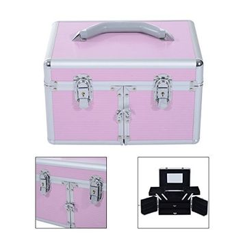 GHP Pink Aluminum Alloy Frame 3-Tier Makeup Train Case with Middle Box & Drawers