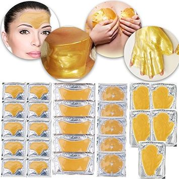 Anti Aging Set of 24 K Gold Golden Collagen Gel Crystal Masks for Neck Décolleté, Hands, Forehead, Breasts Fine Lines, Wrinkles Removal, Moisturizing, Skin Firming, Nourishing and Cleansing