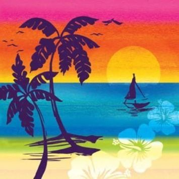 Creative Converting 16 Count 3-Ply Beverage Napkins, Luau Aloha Summer Sunset