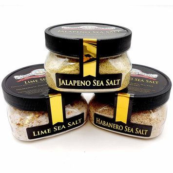 Taco Seasonings Sea Salt Collection 3-Pack: Jalapeno, Habanero, Lime - Mexican Flavors for Your Favorite Dishes - Non-GMO, Gluten-Free, No MSG (12 total oz.)