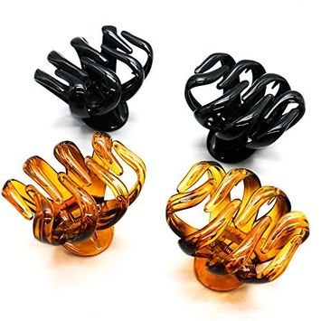 IDS 4Pcs Large Grip Octopus Clip Thick Hair Clip Spider Hair Claw Octopus Jaw Hair Claw Clips for Women Girls, Brown and Black 2.5inch