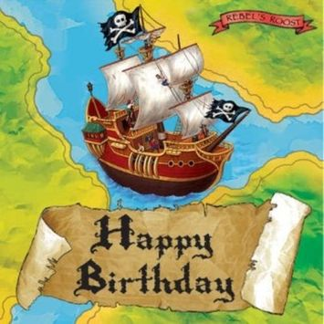 Creative Converting Buried Treasure Happy Birthday 16 Count 3-Ply Paper Lunch Napkins
