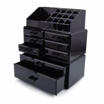 Zimtown Acrylic Makeup Organizer Beauty 8 Drawer Storage Case Box Holder Cosmetics Black