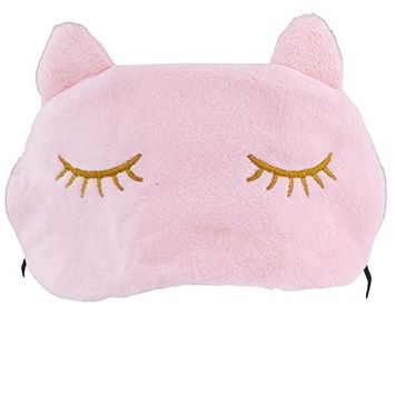 Lux Accessories Cat Kitten Kitty Cat Ears Emoji Kitschy Teen Sleeping Mask
