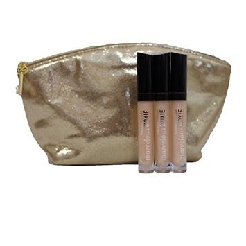 bareMinerals Marvelous Moxie Lipgloss 'Best Friend' 4.5 ml - Set of 3 with Make Up Cosmetic Bag