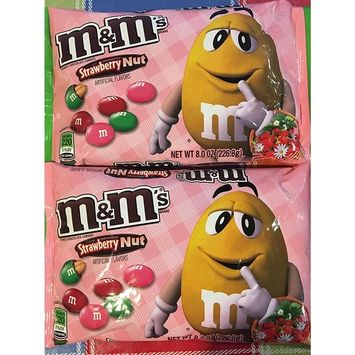 Limited Edition M&M's Strawberry Nut Peanut Chocolate Candies 8 Oz Bag (2 Pack)