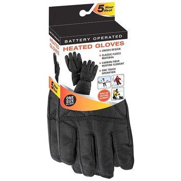 Mens Black Thermal Fleece Battery Heated Winter Gloves