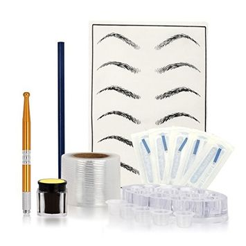 lotus.flower 7 Colors Microblading Practice Skin HandMade Pen Makeup Eyebrow Tattoo Needle Pigment Kit (G