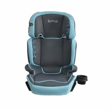 Aidia 2-in-1 Highback Adjustable Booster Car Seat w/ Cup Holder, Grey/Blue