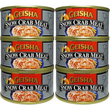 Snow Crab Meat, Wild Caught (Pack of 6), 6 oz Can - Geisha