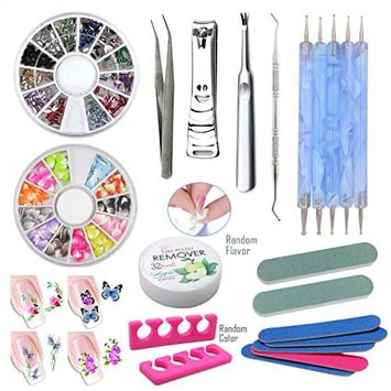 2Pack Nail Art Decoration Rhinestone Beads Manicure Set Nail Dotting Pen Clipper Cuticle Pusher Nail Polish Remover Wipe 5Pc Mini Nail File 2Pc Nail Polishing Buffer 1Pair Toe Separator