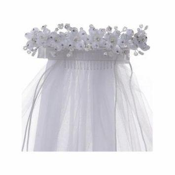 Cinderella Couture Girls White Flower Rhinestone Crown Headpiece Mesh Veil