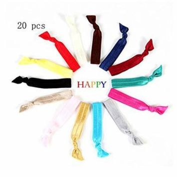 20 Hair Ties ,Bright and Pastel Colors - No CreaseElastic Ponytail Holders,Ribbon Hairties for Women Girls Teens and Kids