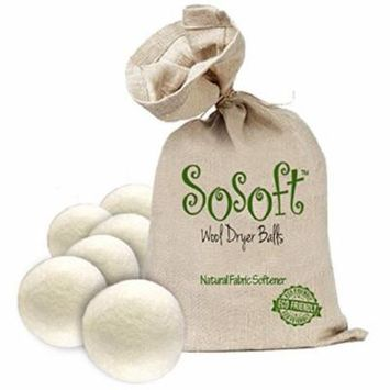 SoSoft Wool Dryer Balls for Baby Clothes 6 pack 100% Premium So Soft Wool Dryer Balls XXL Handmade in Nepal All Natural Eco Friendly All Natural Fabric Softener Natural Fabric Softener 6 Count Package