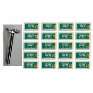 Double Edge Safety Razor + Derby Extra Double Edge Blades, 5 ct. (Pack of 20)