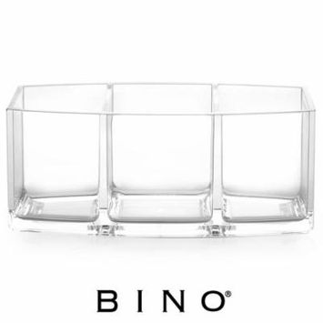 BINO 'Keep It Simple' 3 Compartment Acrylic Jewelry and Makeup Organizer, Clear and Transparent Cosmetic Beauty Vanity Holder Storage