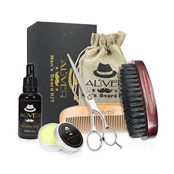 Beard Brush Comb Set, Beard Trimming and Grooming Kit for Men with Gift Box, Including Boar Bristle Brush, Comb, Scissors, Oil and Balm, Perfect Gift for Fathers' Day