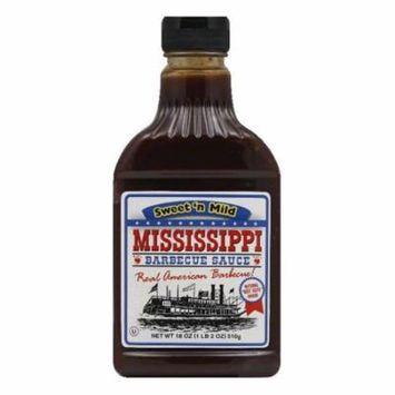 Mississippi BBQ Sweet 'n Mild BBQ Sauce, 18 OZ (Pack of 6)