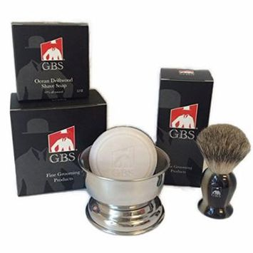 GBS 3 Piece set -Comes in Gift Box- Pure Badger Shaving Brush, GBS Bowl and Soap! 97% All Natural Gbs Ocean Driftwood Shave Soap (Horn)