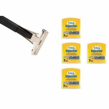 Shave Classic Single Edge Razor Handle with Schick Injector Refill Blades 7 Ct. (Pack of 4)