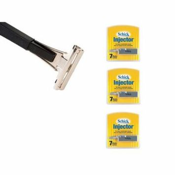 Shave Classic Single Edge Razor Handle with Schick Injector Refill Blades 7 Ct. (Pack of 3)