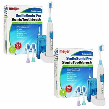 2 Powerful Meijer Sonic Pro Rechargeable Electric Toothbrushes, 3 Brushing Modes, 2 Minute Timer